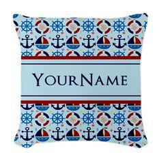Nautical Stripes Cute Anchor M Woven Throw Pillow