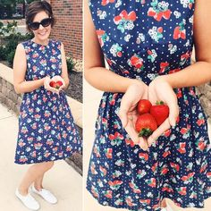 #strawberryprint #fruits #navydress #polkadots #summer