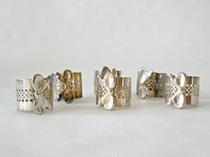 Vintage Set of 6 Silver Plated bow Napkin Rings by VintagetoFrance