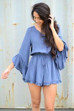 She + Sky Blue Bell Sleeve Romper