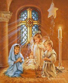 Violeta - Navidad - Navidad-by-Dona-Gelsinger--07 Christmas Jesus, Christmas Past, Christmas Nativity, Christmas Pictures, Christmas Prayer, Christmas Classics, Christmas Pageant, Cross Stitch Angels, Happy Birthday Jesus