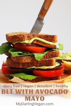 This vegan blt is made with a yummy avocado mayo, and it's the perfect sandwich for an easy lunchtime meal. #veganblt #easy #mydarlingvegan #recipe Vegan Dinner Recipes, Whole Food Recipes, Vegetarian Recipes, Healthy Recipes, Vegetarian Cooking, Free Recipes, Healthy Food, Vegan Foods, Vegan Dishes