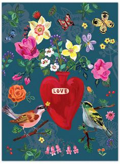 Love & Flower illustration by Nathalie Lete. http://www.ebay.com/itm/7321-Design-2016-Vintage-Galore-Nathalie-Lete-Illustration-Diary-3-Types-/111868986235?var=&hash=item1a0be9437b:m:mDgy-vc_d8XBenlrO6jS10g