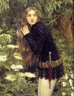 """peinture UK : Eleanor Fortescue Brickdale, 1905, """"the little foot-page"""", 1900s, femmes artistes, style médiéval, préraphaélisme"""