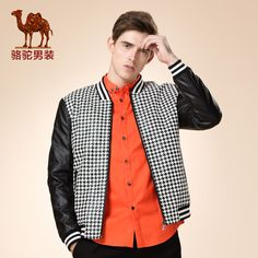 camel 2015 new knit collar zipper PU jacket black and white houndstooth casual jacket leather men