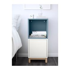 EKET Storage combination with legs, white. With the EKET series you can build your storage big, small, colorful or discreet to either display or hide your things. And if your space and needs change, you can easily change your EKET solution too. Living Room Orange, Living Room Modern, Bedside Table Ikea, Ikea Eket, Hacks Ikea, Bedroom Decor On A Budget, Ikea Home, Affordable Furniture, Home Interior