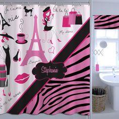 Zebra Print Pink Shower Curtain, Paris And Animal Print Custom Shower  Curtain#14 #