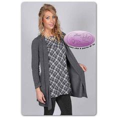 Maglia donna con cardigan incorporato effetto mini abito in morbida e calda  viscosa. E  66c5ee3f4709