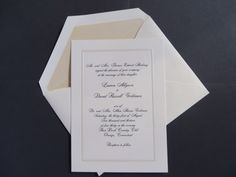 Classic ivory invitation with black ink. Invitationsbymarcy.com Bar Mitzvah Invitations, Wedding Invitations, Addressing Envelopes, Bat Mitzvah, Letterpress, Save The Date, Stationery, Ivory, Ink