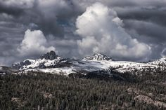 by Sam Okamoto - Landscapes Cloud Formations ( california, clouds formation, forest, pass, snowy mountain )
