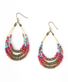 Look what I found on #zulily! Wood Seed Bead Teardrop Earrings #zulilyfinds  (Was $24 Now $8.99)
