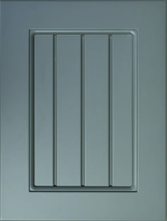 """Barcelona Grooved Flat Panel Door  Available Material: MDF Color Shown: Gauntlet Gray Paint Available in All Outside Profiles - Shown with 18"""" Roundover Outside Profile Gauntlet Gray, Gray Paint, Grey Cabinets, Face Framing, Custom Cabinetry, Cnc Router, Panel Doors, Cabinet Doors, Color Show"""