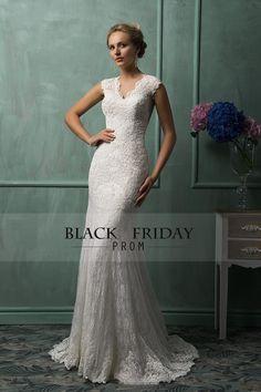2016 V Neck Cap Sleeve With Applique Lace Mermaid Chapel Train Wedding Dresses