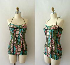 1950s Vintage Bathing Suit - 50s COLE Cotton Batik Maillot - Summer in the Seychelles on Etsy, $138.00