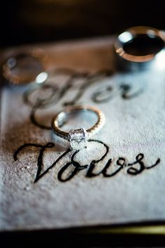 Samantha's gorgeous solitaire diamond engagement ring on a sparkling pave band Photo by Mark Eric Weddings