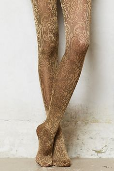 Antique Scroll Tights #anthropologie