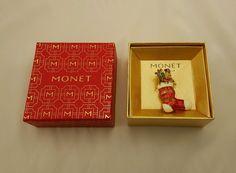 Monet Christmas Stocking Brooch Presents Nutcracker Pin Holiday w Orig Box | eBay
