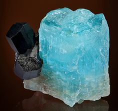Huge, DEEP BLUE crystal of Beryl var. Aquamarine with attached Schorl Tourmaline! This is a specimen that is as beautiful as it is unique! ...