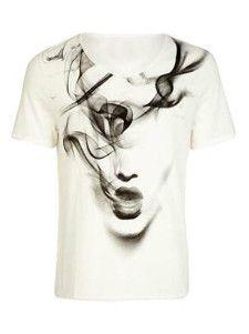 Shirt aus Baumwolle mit Rundhalsausschnitt und kurzen Ärmeln in Weiß