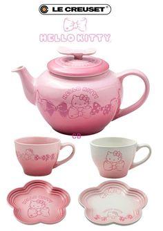 Le Creuset x Sanrio Hello Kitty Dinnerware Collection Tea Pot & Cups Set Limited | eBay