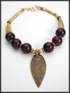 AFRICAN SHIELD - Vintage Handmade African Shield - Jade - Horn - Bone 1 of a Kind Necklace