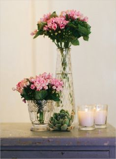 pink floral decor with succulents #succulents #weddingflorals #weddingchicks http://www.weddingchicks.com/2014/01/20/party-light-wedding/