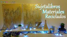 Decora tu habitación, escritorio o librero con estos preciosos sujeta-libros hechos de materiales reciclados, personalizalos y adáptalos a tus gustos y/o nec...