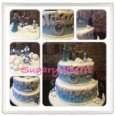 Disney princess frozen themed birthday cake created by Sugary Swirls Frozen Themed Birthday Cake, Custom Birthday Cakes, Disney Princess Frozen, Swirls, Desserts, Food, Tailgate Desserts, Deserts, Meals