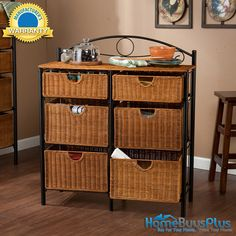Storage Chest 6 Drawers Wicker Baskets for Kitchen, Bath, Bedroom or Anywhere.  $179.99