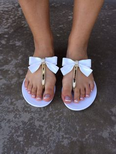 a26224851b0984 White Bow Jelly Sandals Jelly Sandals