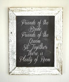Chalkboard Seating Sign Print - No Seating Chart - Wedding Signs - READY TO SHIP