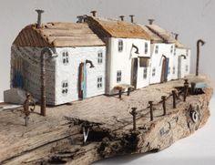 Kirsty Elson on Driftwood Sculpture, Driftwood Art, Scrap Wood Crafts, Driftwood Projects, Small Wooden Projects, Small Wooden House, Glitter Houses, Timber House, Wooden Art