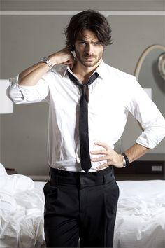 Italian actor Giulio Berruti in head-to-toe Emporio Armani-- simplicity at it's finest.