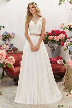 6856 Designer Wedding Dresses and Bridal Gowns by Morilee. This Two-Piece Boho Wedding Gown Features a Crystal Beaded, Embroidered Bodice with Net Skirt. 2 Piece Wedding Dress, Boho Wedding Gown, Bridal Wedding Dresses, Wedding Dress Styles, Designer Wedding Dresses, Boho Bride, 2 Piece Bridesmaid Dress, Bohemian Weddings, 2017 Bridal
