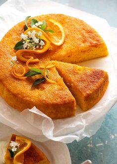 Ready to serve Orange Cake - flourless, gluten free Whole Orange Cake, Orange And Almond Cake, Flourless Orange Cake, Flourless Cake, Orange Recipes, Almond Recipes, Sweet Recipes, Gluten Free Cakes, Gluten Free Baking