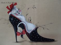 by Sandra S. I Love Cats, Cool Cats, Shoe Art, Tole Painting, Cat Drawing, Cat Lady, Cats And Kittens, Dog Cat, Cute Animals