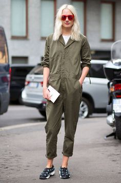 Trending Fashion Style: Jumpsuit. - Khaki green utility jumpsuit, street style during Milan Fashion Week Spring Summer 2015.