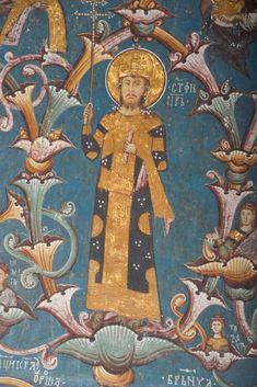 detail: Stefan Uros IV Dusan, son of Stefan of Decani, first Serbian Tsar Italian Army, Byzantine Art, Art Icon, Orthodox Icons, Serbian, 14th Century, Middle Ages, Fresco, Vignettes