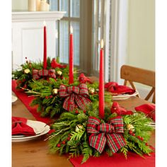 Holiday Centerpiece, pretty for our table....minus that cardinal