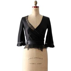 Pre-owned Miu Miu Wrap Silk Vintage Top Black ($148) ❤ liked on Polyvore featuring tops, blouses, black, wrap blouse, long black blouse, vintage silk blouse, black 3/4 sleeve top and long silk blouse
