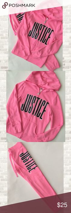 Justice Sweatsuit Size 8 full zip hooded sweatshirt and matching sweatpants. Like new condition! Justice Matching Sets