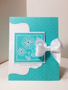 Tiffany and co. Inspired card with white satin bow and bling.