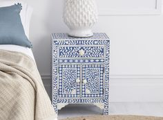 Bone Inlay Furniture - Sapphire & Bone Inlay Bedside Table