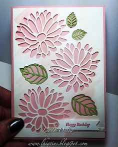 handmade birthday card ... negative space flowers ... pink and white with green leaf  veins ... lacy look die cut outlines ... Stampin' Up!