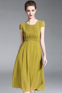 7b6b18201c8d Yellow Simple O-Neck Short Sleeve Fit & Flare Dress. Χαριτωμένα ΦορέματαΚαλοκαιρινά  ...
