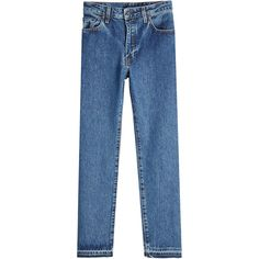 Levis Made & Crafted Straight Cropped Jeans (7.430 RUB) ❤ liked on Polyvore featuring men's fashion, men's clothing, men's jeans, blue, mens straight leg jeans, mens straight jeans, mens cropped jeans and mens blue jeans