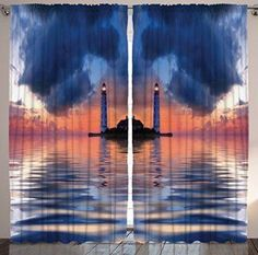 Dark Blue Curtains Nautical Home Decor by Ambesonne, Sea Life Maritime Sunset Water Waves Old Lighthouse Picture Art Print, Bedroom Living Room Curtain 2 Panels Set, 108 X 84 Inches, Dark Blue Orange  Gift Ideas for Lighthouse Lovers The best gifts for lighthouse lovers are gifts they can use around the home.  Therefore consider giving cool, fun and trendy lighthouse home decor as gifts for family and friends who love light houses.  This is especially true if they once lived near the ocean.