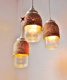 The Hive Mason Jar Pendant Lights Set Of 3 Hanging Lighting Fixtures With Rope Wred Jars Rustic Bootsngus Lamps Home Decor
