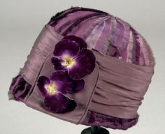 Cloche: ca. 1925-1930, gathered silk crepe, hand-painted flowers. Search for 17303.