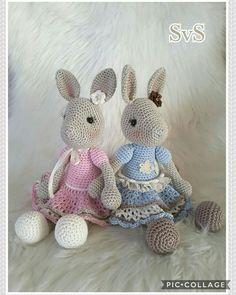2 vriendinnetjes,  konijn Madelein, kooppatroon van Haakgelukjes  http://haak-gelukjes.blogspot.nl/